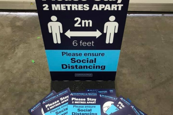 2 metres apart sign by Keillor Graphics