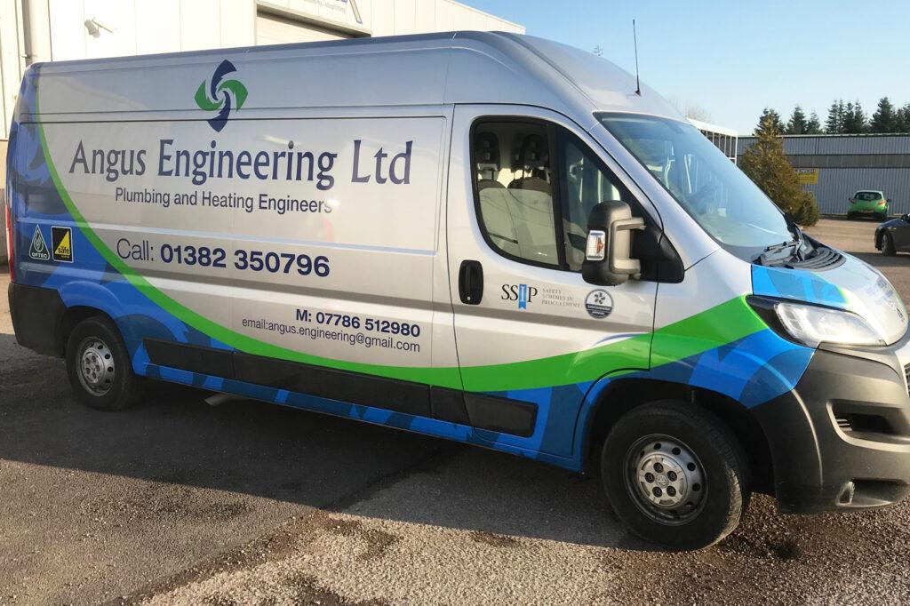 Side view of Angus Engineering van
