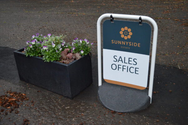 Sales office Sunnyside pavement sign