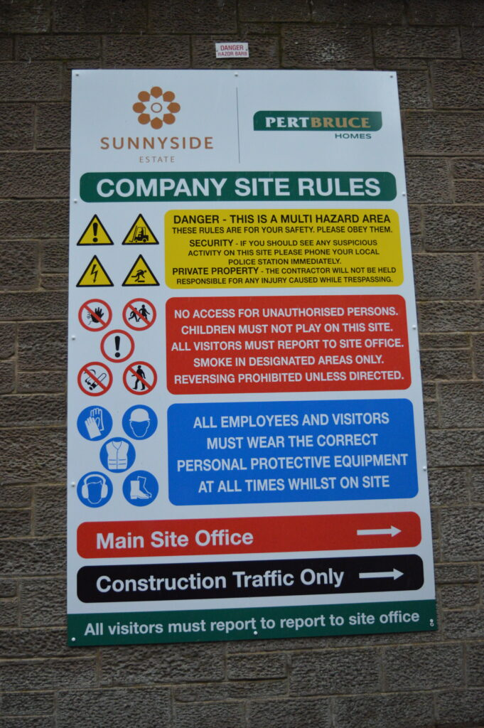 Company site rules signage