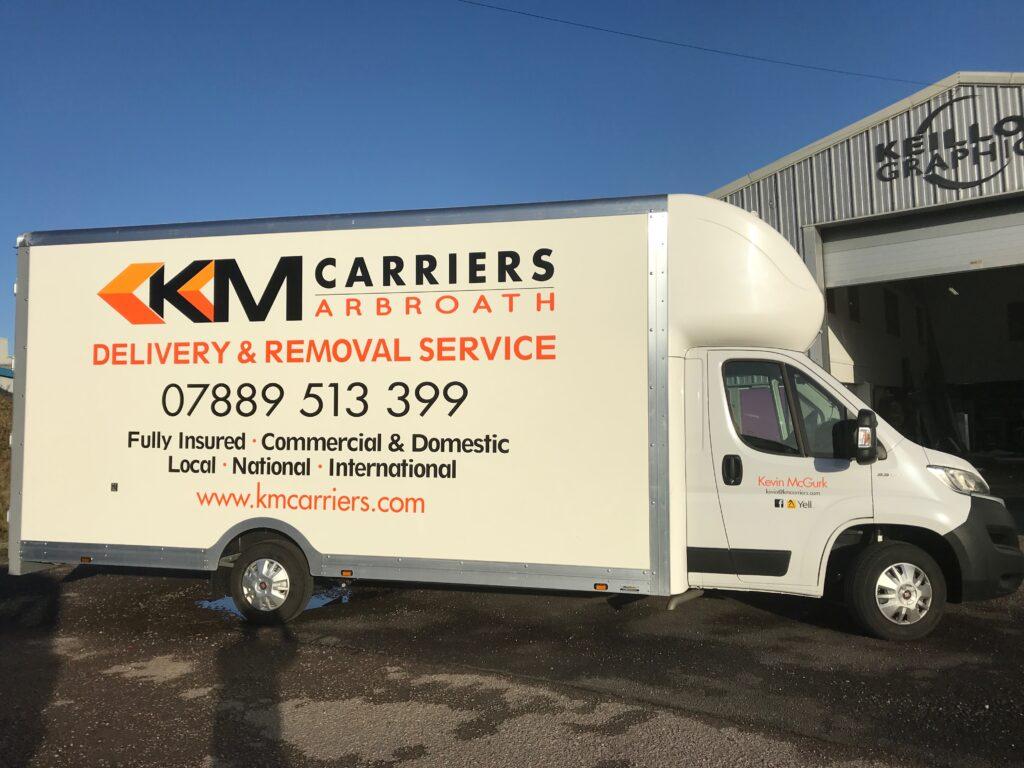 KM Carriers van outside Keillor