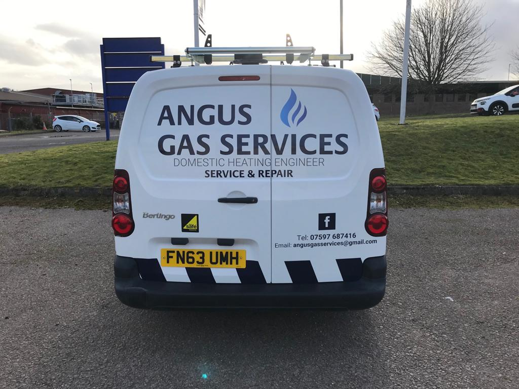 Rear end of Angus Gas Service van