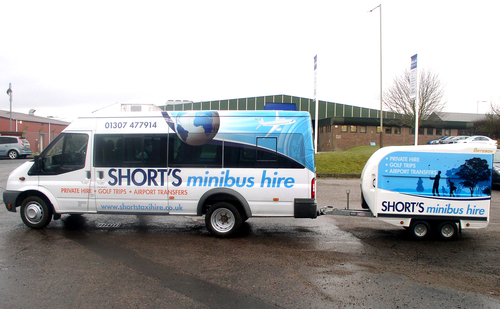 Vehicle livery for Shorts minibus hire