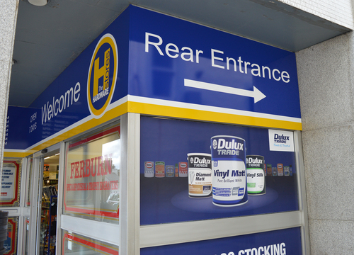 rear entrance to the hardware store