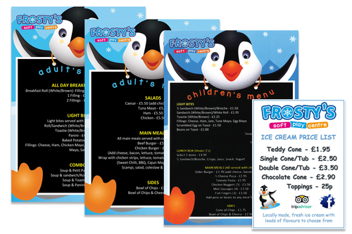 Frostys play centre menus