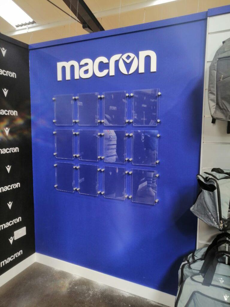 Blue macron exhibition board