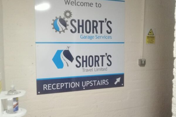 Shorts reception signage work