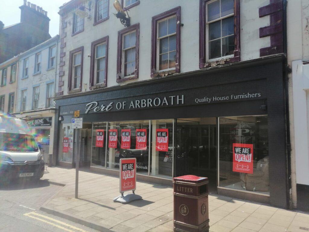 Shop fascia at Pert of Arbroath