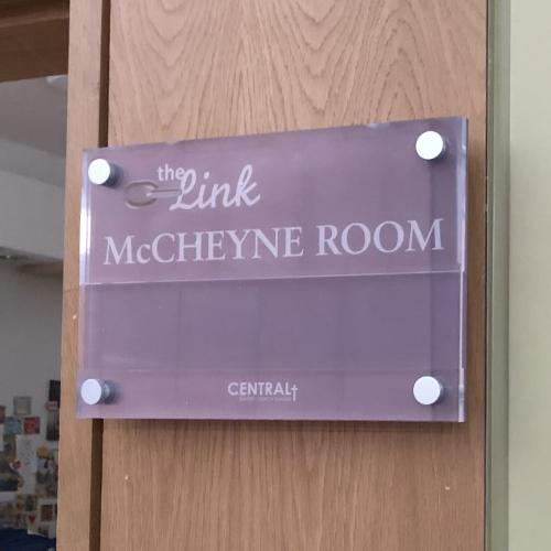 McCheyne Room signage for Central Baptist Church