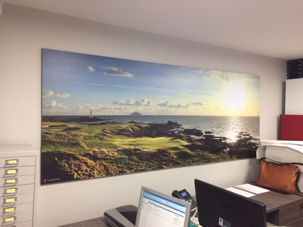 Large wall canvas work for links golf