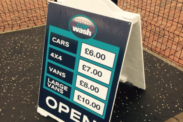 Pavaement sign for Westway Car Wash