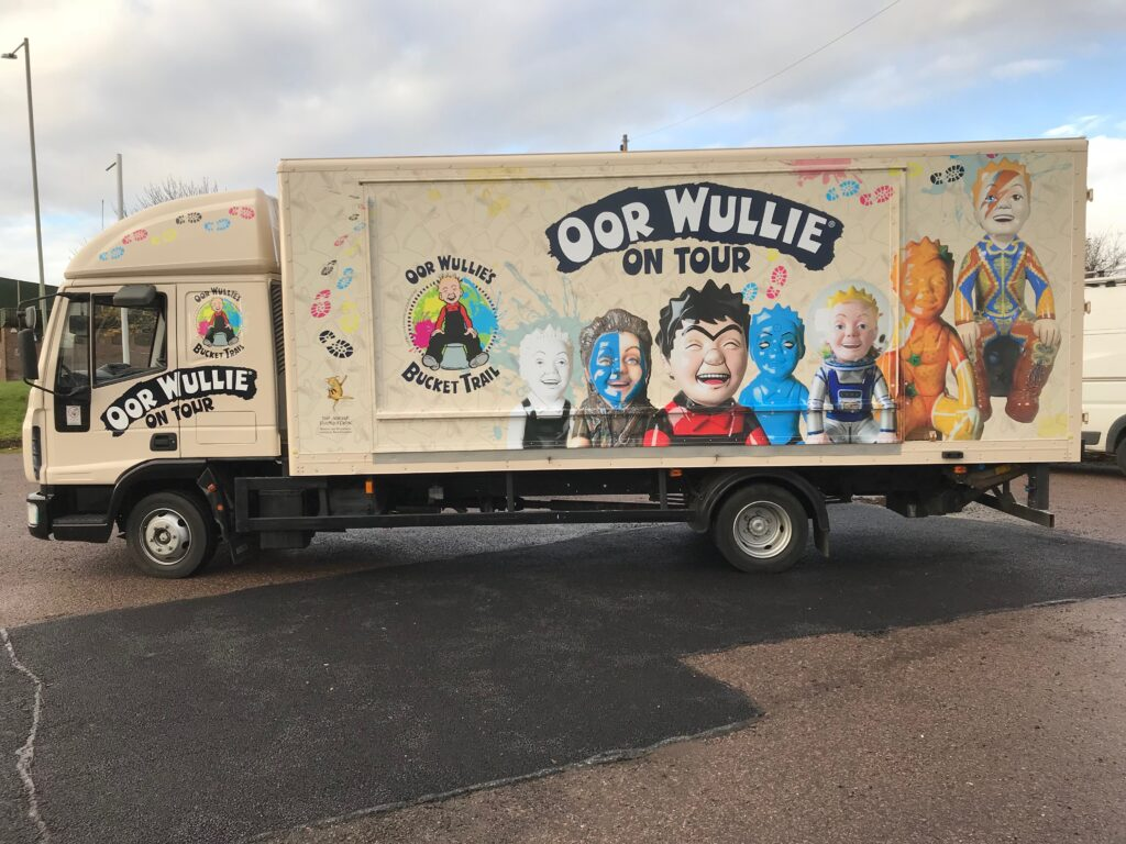 side of oor wullie vehicle with livery