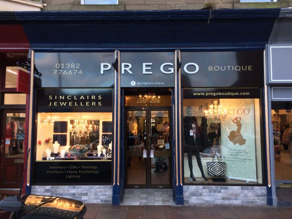 Shop fascia at Prego Boutique