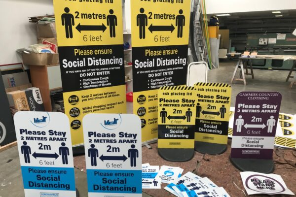 Esk Glazing social distancing signs