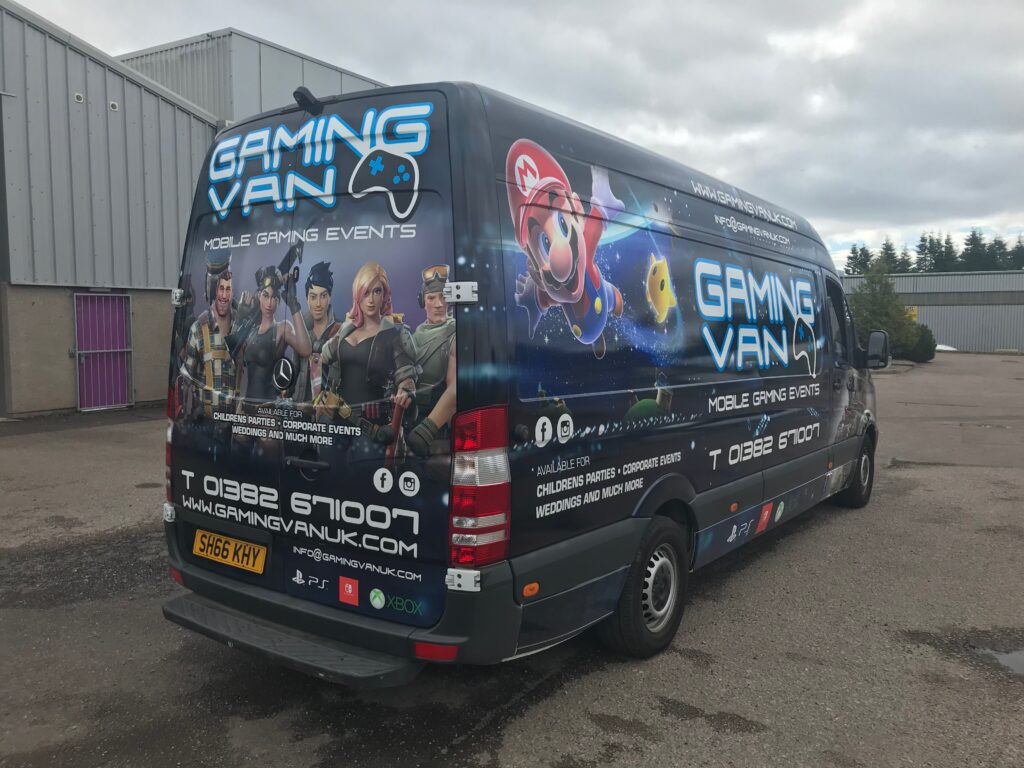 back of gaming van with livery