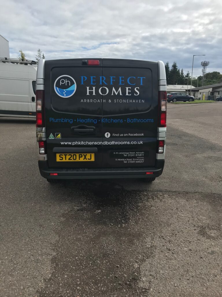 back of perfect homes van with livery