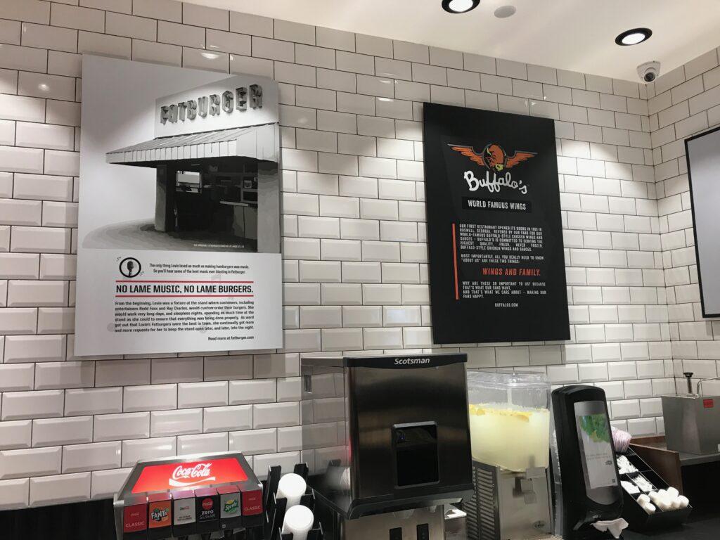 Interior wall designs for Fatburger