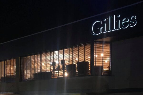 Logo installed on building for Gillies