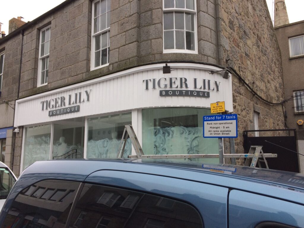 Tiger Lily Boutique shop fascia recently installed
