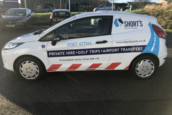 Side view of Shorts Travel vehicle livery
