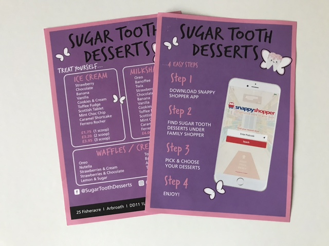 menus for suger tooth desserts