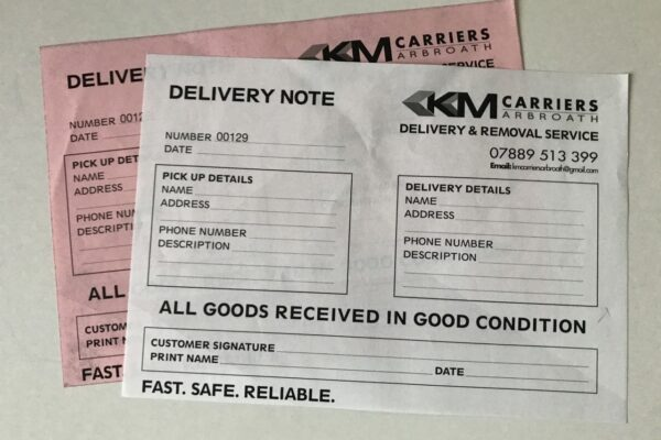 km carriers delivery notes