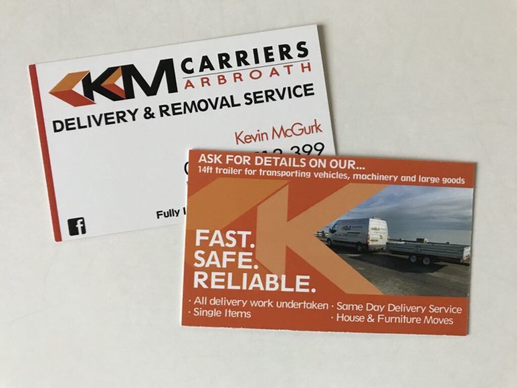 km carriers business cards