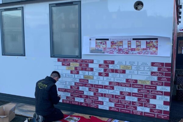 making the supporters wall at gayfield