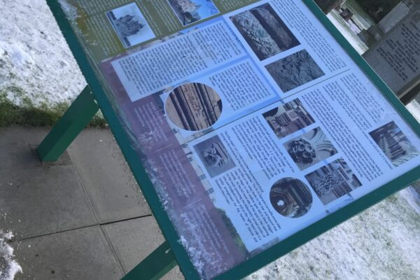 exhibition board on a winters day