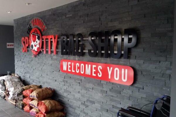 spotty bag shop interior work