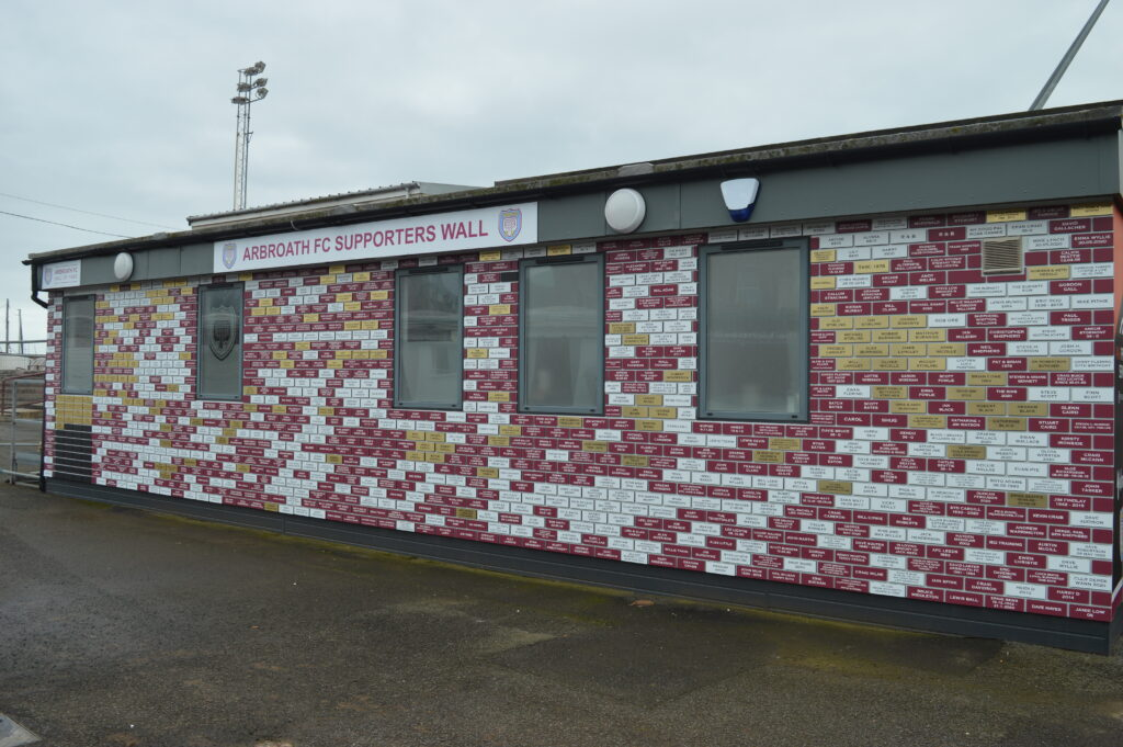 View of Arbroath FC supporters wall