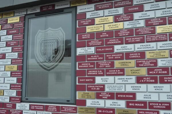 Supporters club outside Arbroath club shop