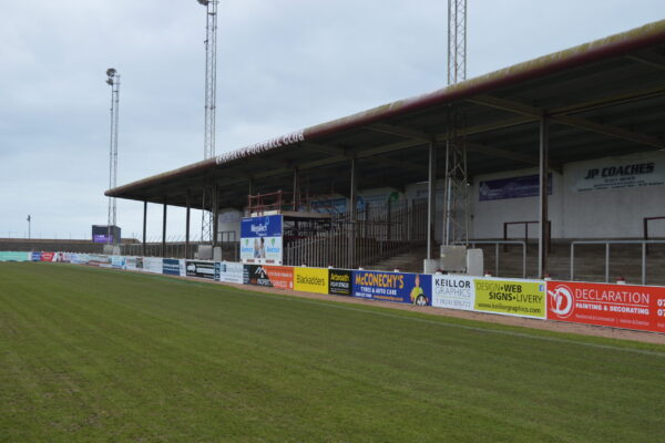 Selection of advertising boards at Arbroath FC