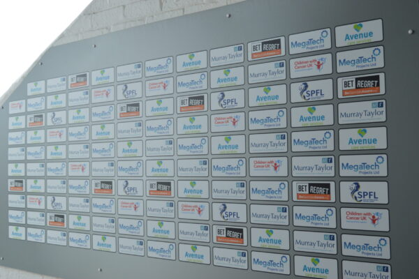 Arbroath FC wall of sponsors