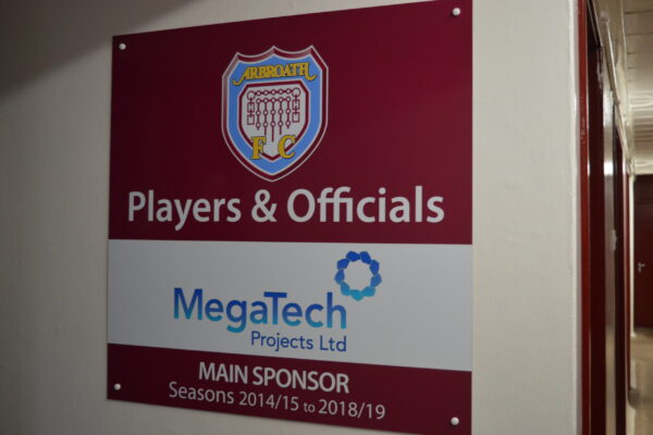 Players and Officials sign at Arbroath FC