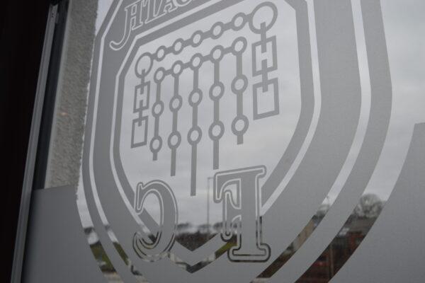 Arbroath FC logo on a window