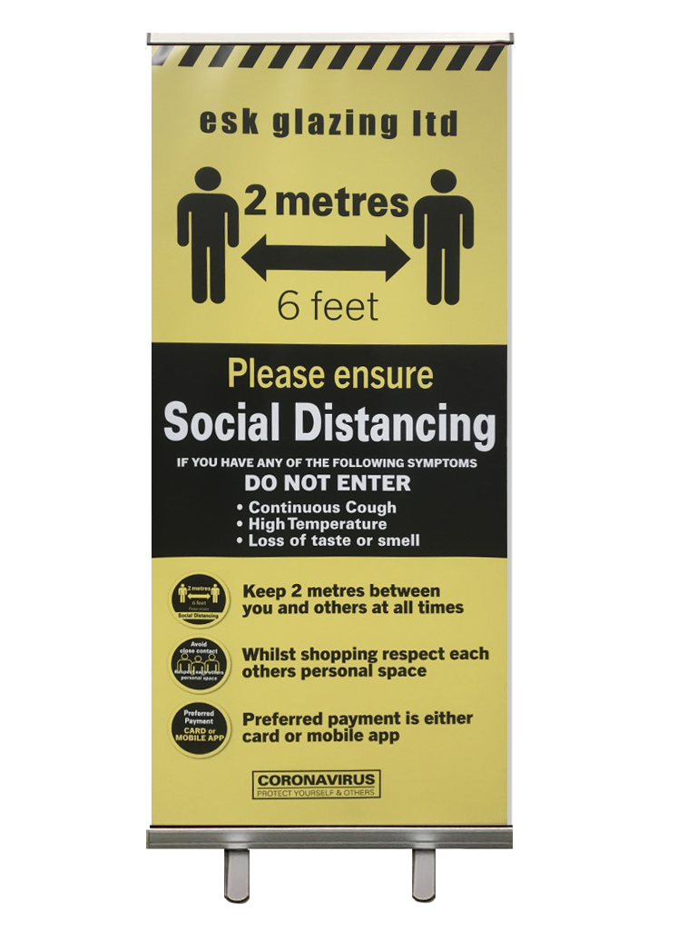 Esk glazing social distancing banner stand